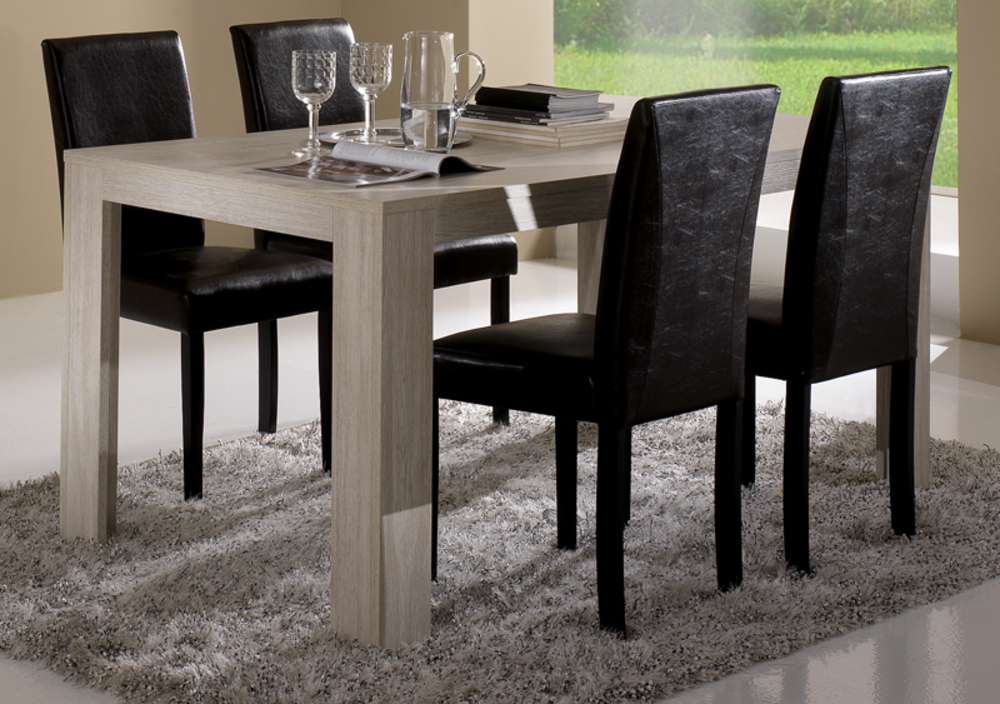 table de repas pisa chene blanchi soho blanchi l 160 x h 77 x p 90. Black Bedroom Furniture Sets. Home Design Ideas