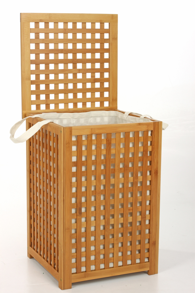 Coffre a linge bambou for Meuble de salle de bain en bambou