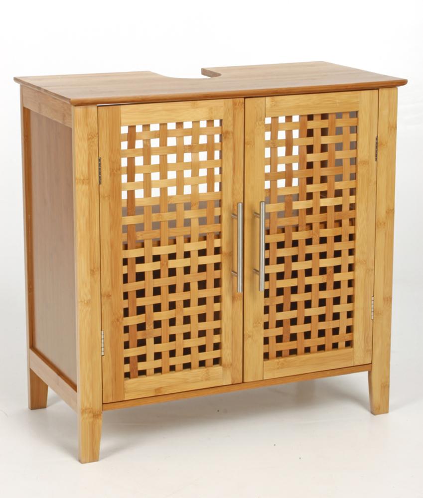 Meuble sous lavabo bambou for Meuble osier salle de bain