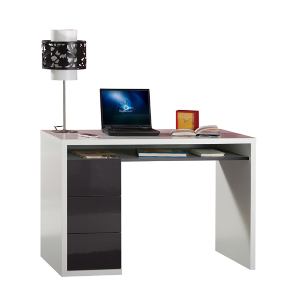bureau 3 tiroirs moneta blanc gris. Black Bedroom Furniture Sets. Home Design Ideas