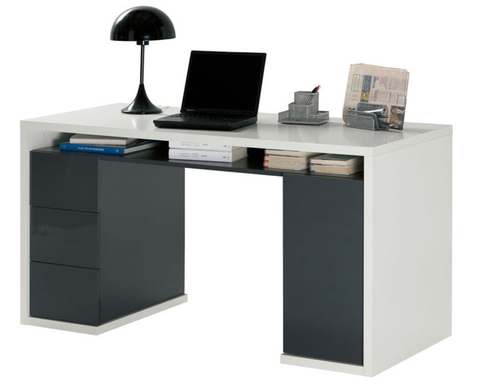 Bureau 3 tiroirs 1 porte moneta 2 blanc gris fonce for Meuble bureau 2 main
