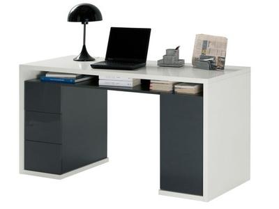 Bureau tiroirs moneta beton blanc brillant