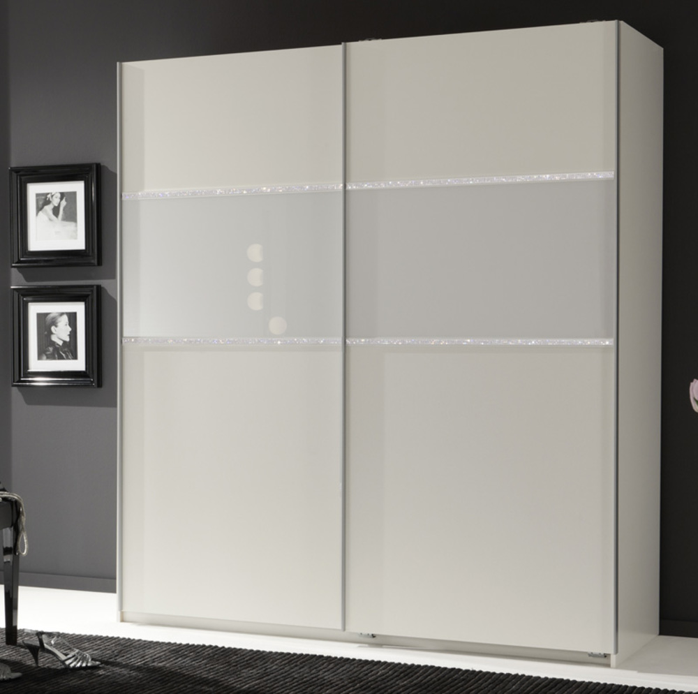armoire 2 portes coulissantes blitz blanc l 135 x h 198 x p 64. Black Bedroom Furniture Sets. Home Design Ideas