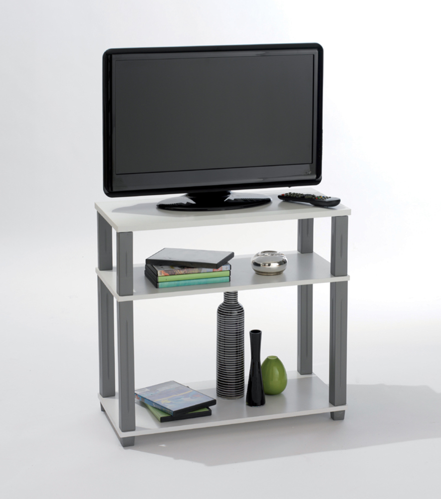 Meuble tv polytub blanc for Meuble tv tres fin