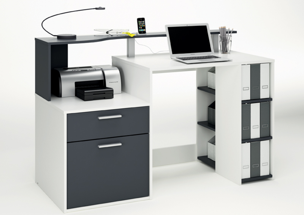 Bureau 1 porte 1 tiroir oracle blanc gris graphite for Meuble bureau tiroir