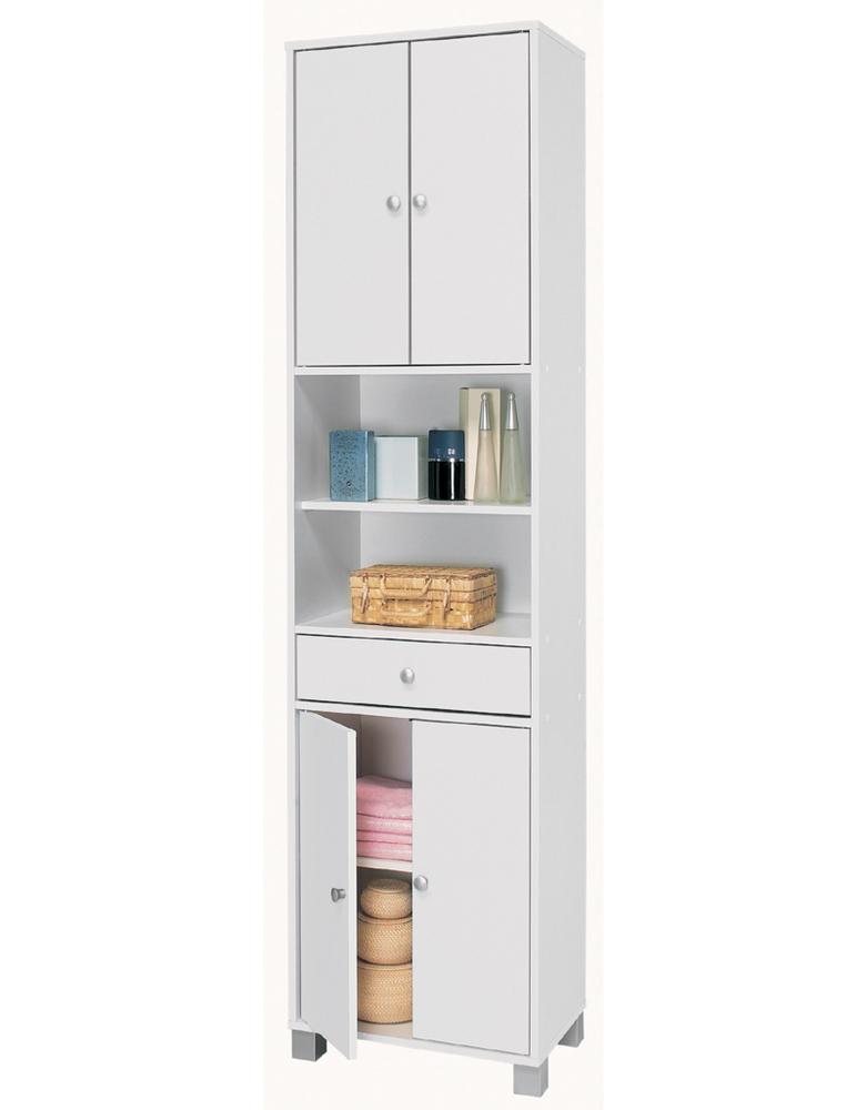 Colonne 2 2 portes et 1 tiroir bikini blanc - Colonne cuisine 50 cm largeur ...