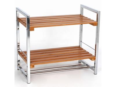 Etagere 2 niveaux bambou metal bambou for Etagere salle de bain bambou
