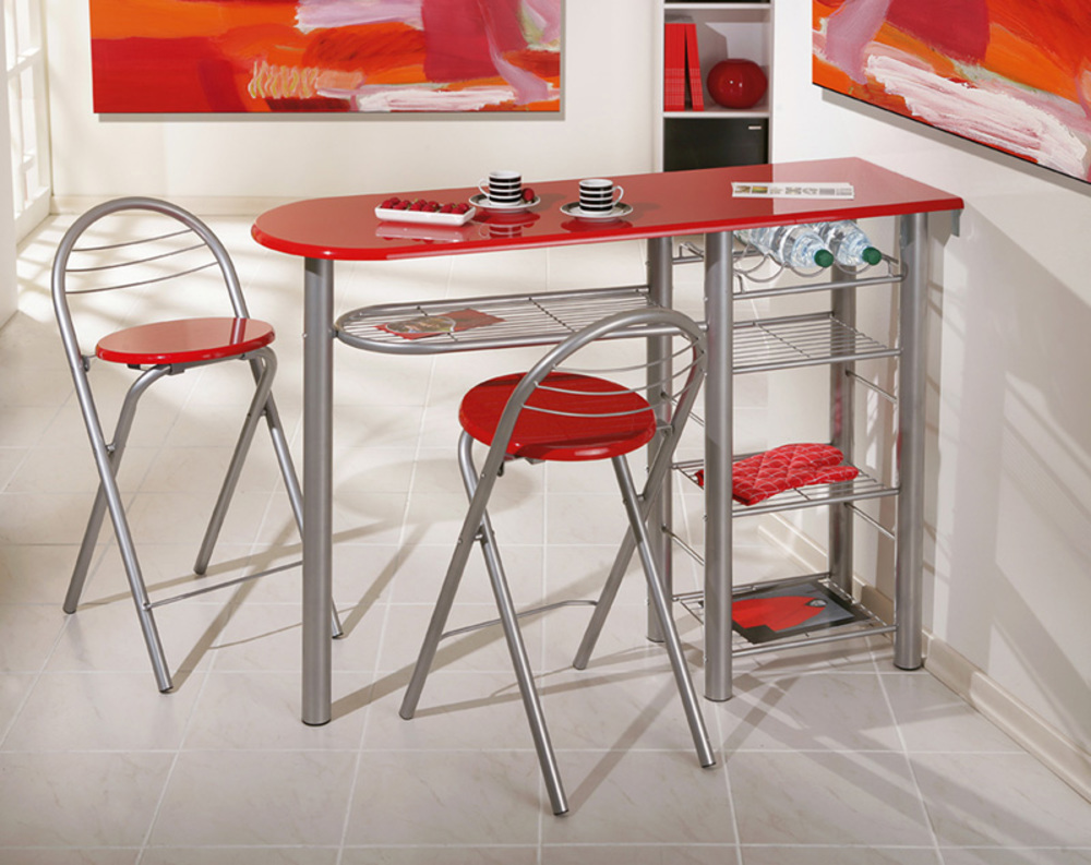 Ensemble table bar 2 tabourets brigitte rouge for Table de cuisine kreabel