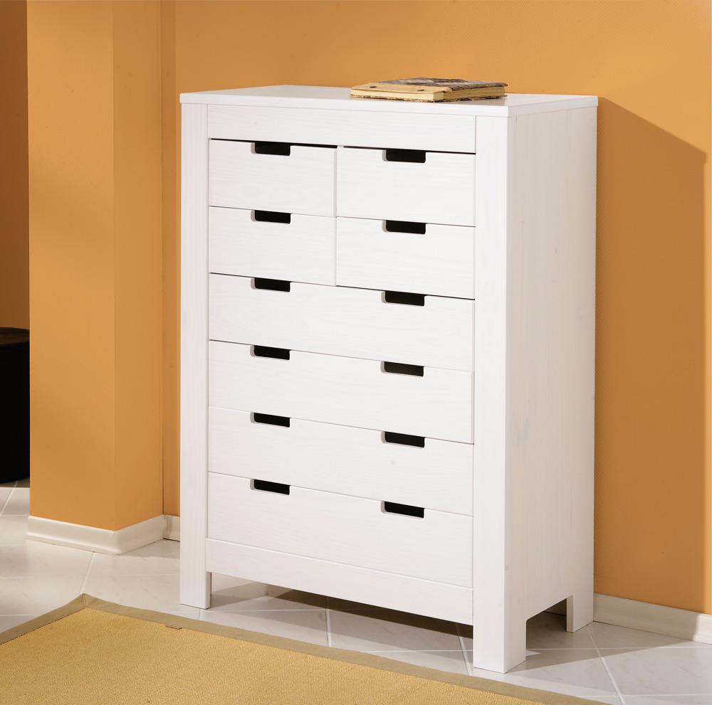 commode 4 4 tiroirs ben blanc. Black Bedroom Furniture Sets. Home Design Ideas
