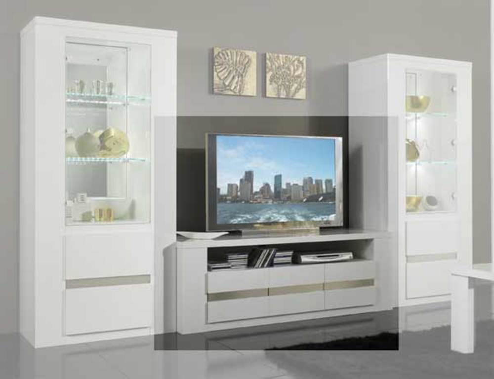 Meuble tv plasma tania laque blanc blanc metal for Meuble tv banc