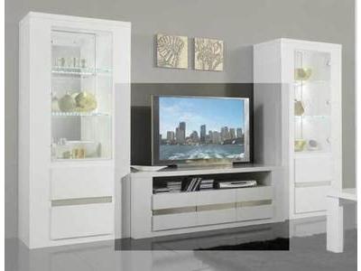 Meuble tv marquis gris lasure blanc for Meuble sejour laque blanc