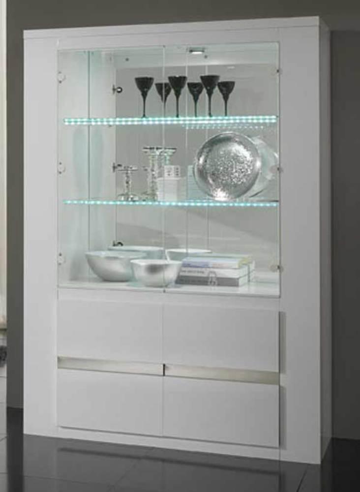 Vitrine tania laque blanc blanc metal for Vitrine salle a manger design