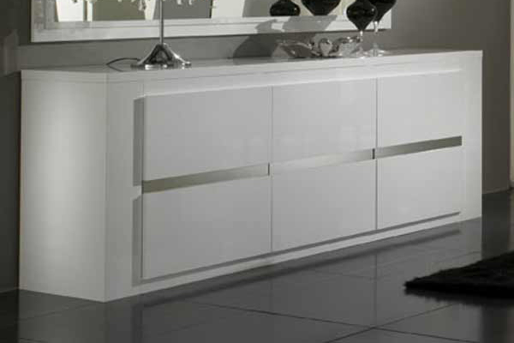 Bahut 3 portes tania laque blanc blanc metal for Meuble de salon buffet
