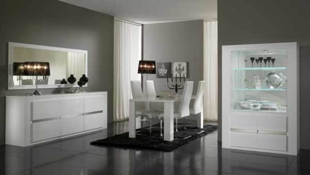bahut 3 portes tania laque blanc blanc metal. Black Bedroom Furniture Sets. Home Design Ideas