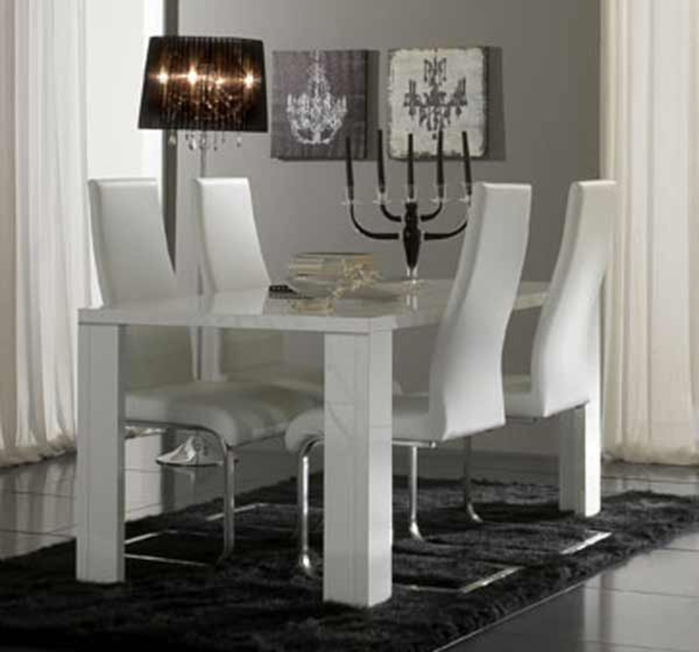 Table de repas tania laque blanc blanc metal l 160 x h 76 - Table sejour blanc laque ...