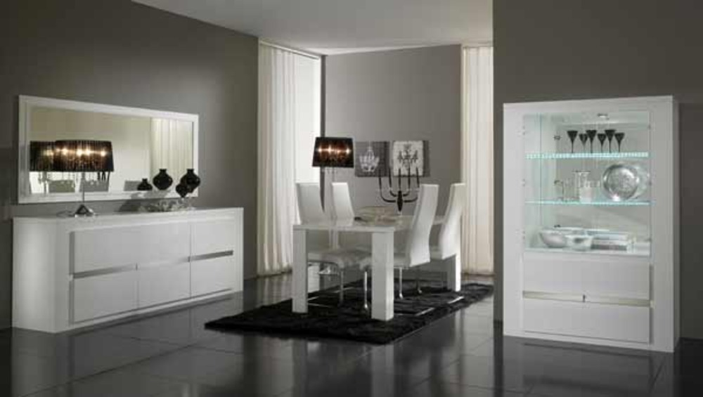 table de repas tania laque blanc blanc/metal - Meuble Italien Design Laque