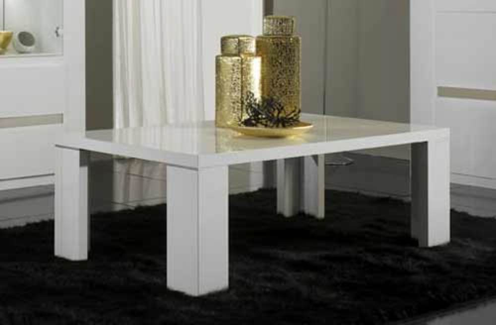 Table basse tania laque blanc blanc alu for Table basse blanc laque fly