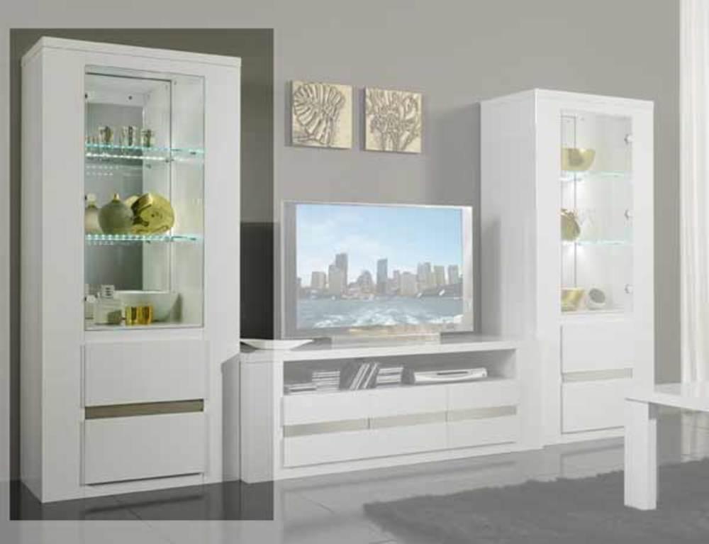 Colonne tania laque blanc blanc alu for Meuble tv solde