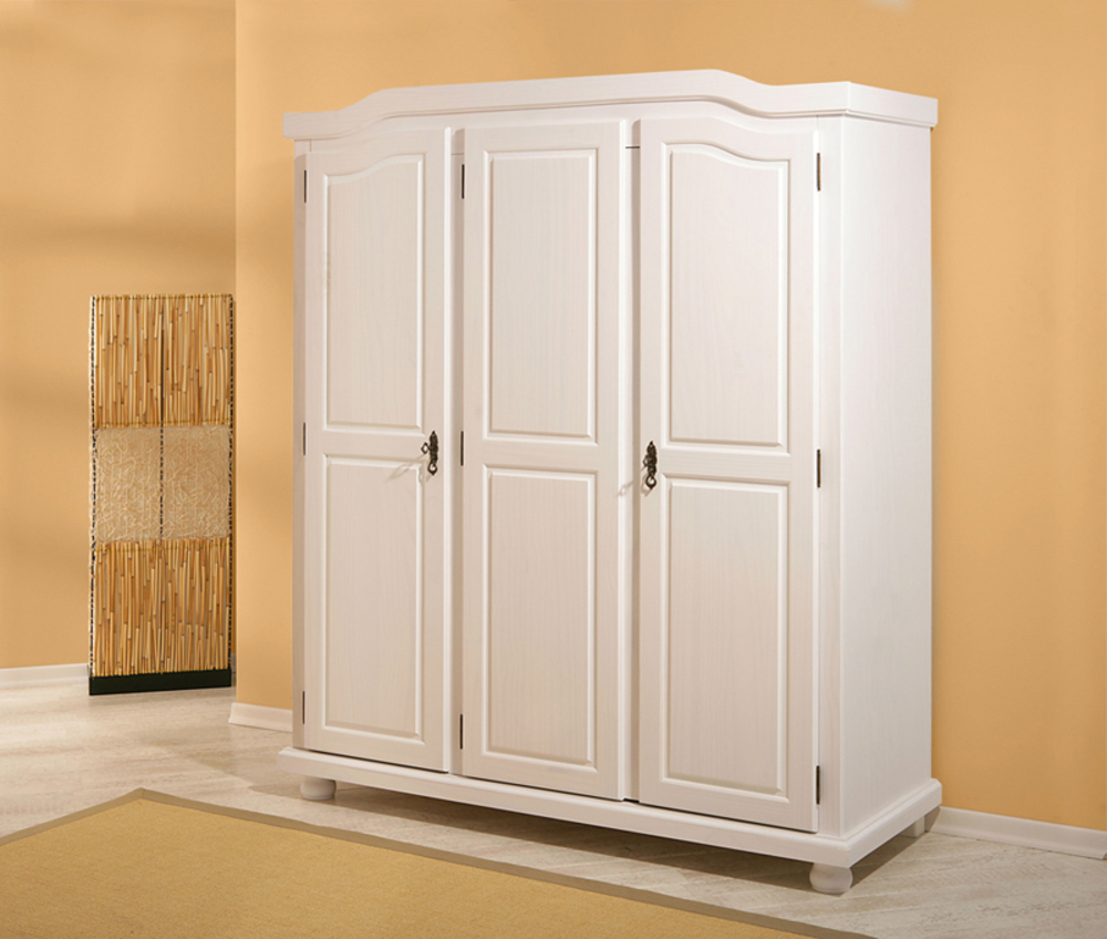 armoire 3 portes bastian blanc. Black Bedroom Furniture Sets. Home Design Ideas