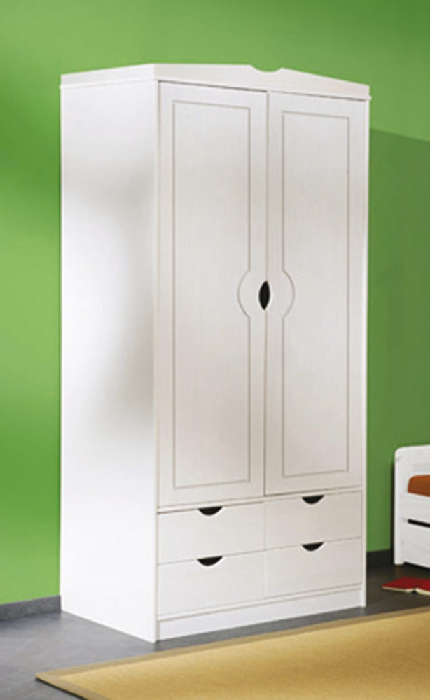 Armoire 2 portes 4 tiroirs terry blanc - Meuble lingere rangement ...