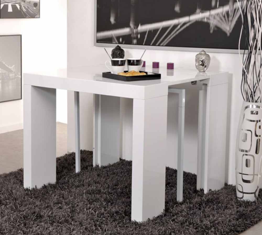 table console extensible algo - Table Console Extensible Blanc Laque