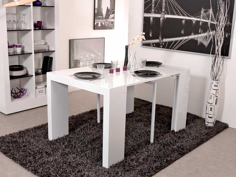 Table console extensible algo blanc brillant for Table de sejour extensible