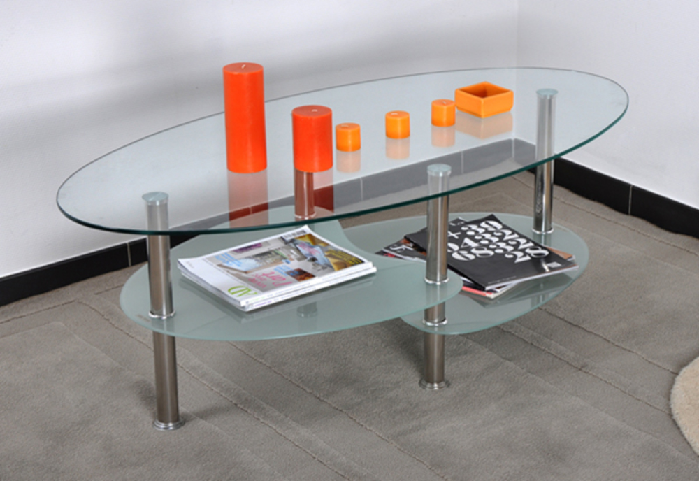 Table basse peguy verre chrome for Table en verre de salon