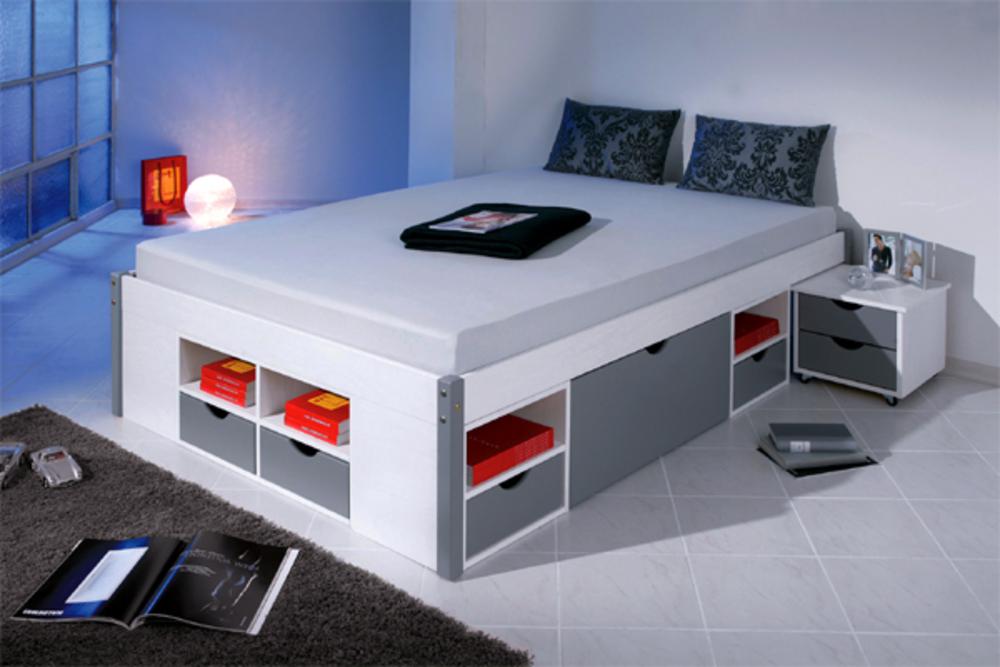 lit mikar blanc gris l 146 3 x h 47 5 x p 209. Black Bedroom Furniture Sets. Home Design Ideas