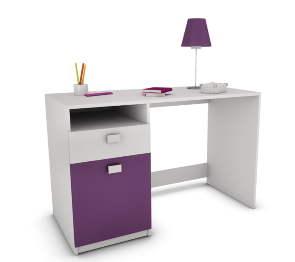 Bureau lagos blanc prune for Meuble bureau fille