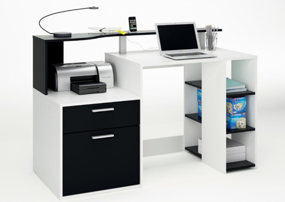 Bureau porte tiroir oracle blanc noir