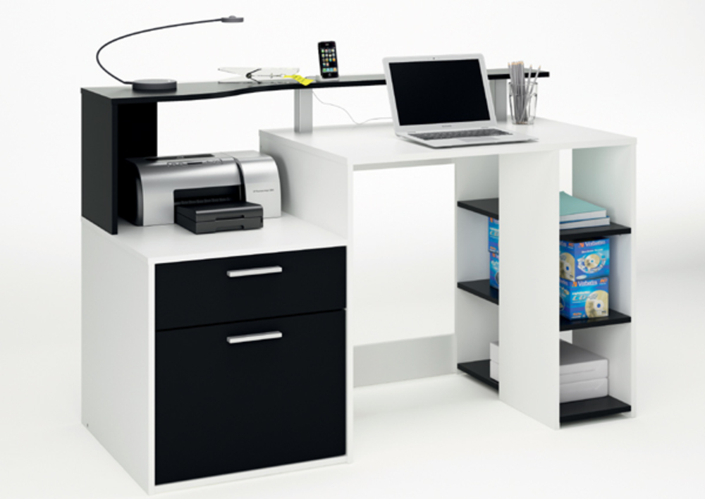 Pin bureau meuble informatique 5 tiroirs pasha la maison for Meuble bureau informatique but