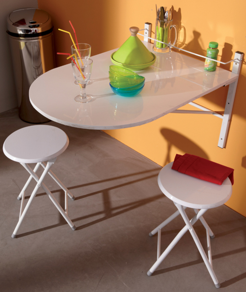 Table murale 2 tabourets sinai blanc for Table de cuisine retractable