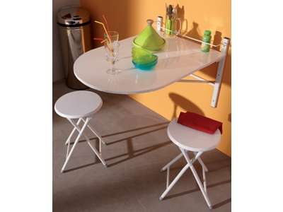Tables de cuisine rondes murales ou extensibles for Table de cuisine escamotable