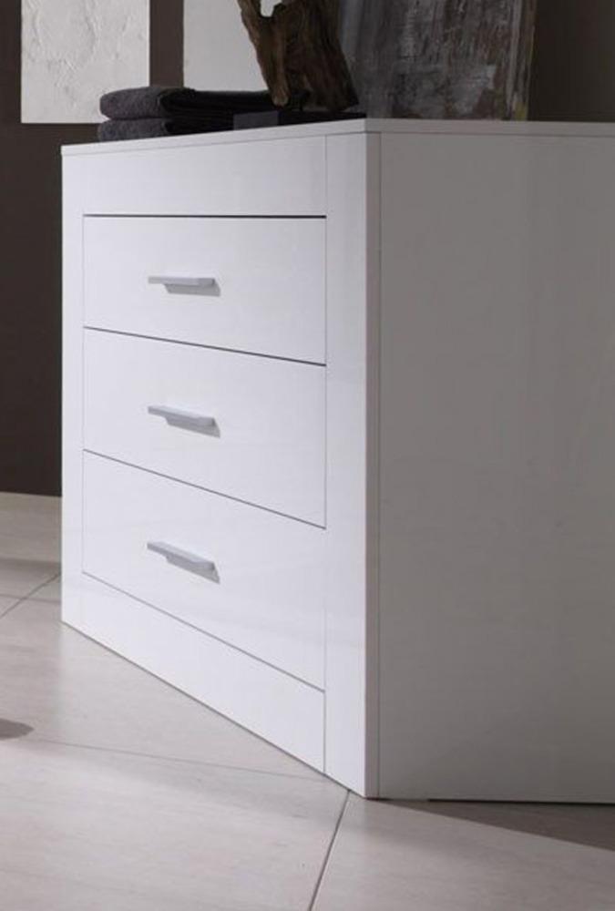Commode 3 tiroirs amalfi chambre coucher blanc brillant for Chambre a coucher blanc laque brillant