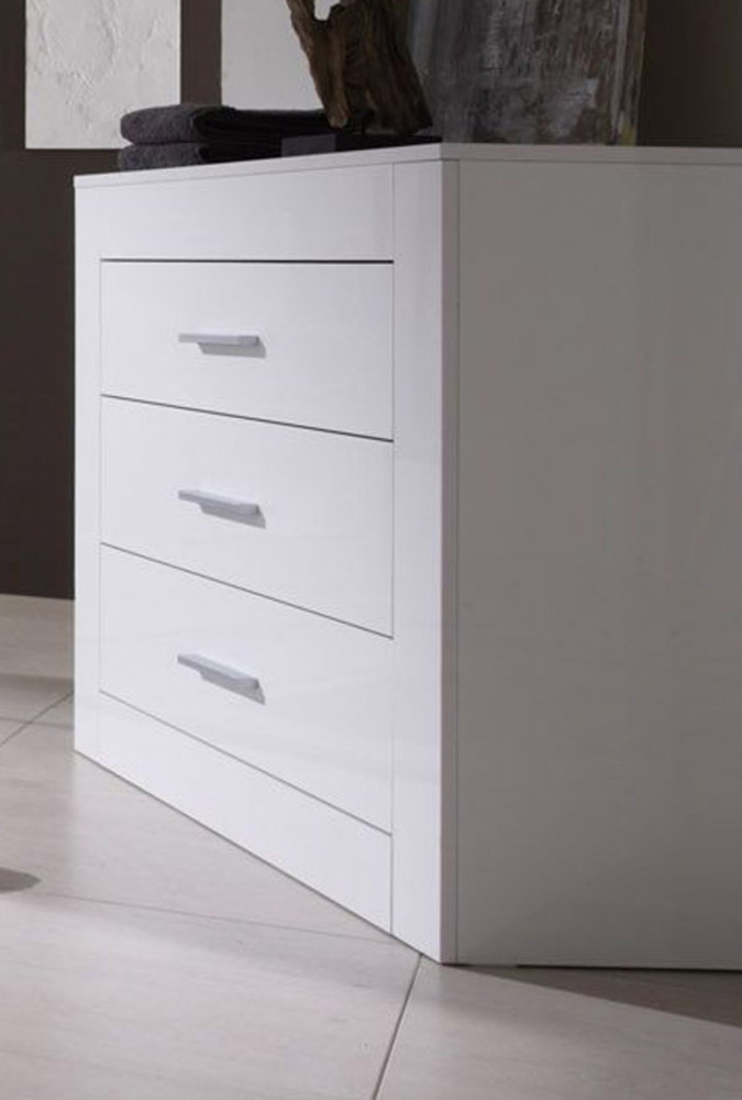 Commode 3 tiroirs amalfi chambre coucher blanc brillant for Commode chambre but