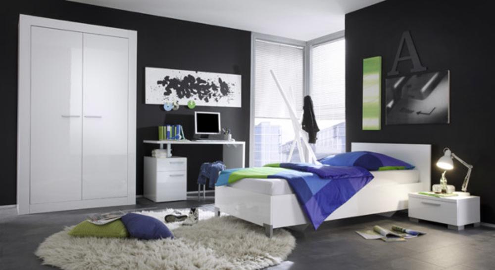 Armoire 2 portes amalfi chambre junior blanc brillant - Chambre enfant junior ...