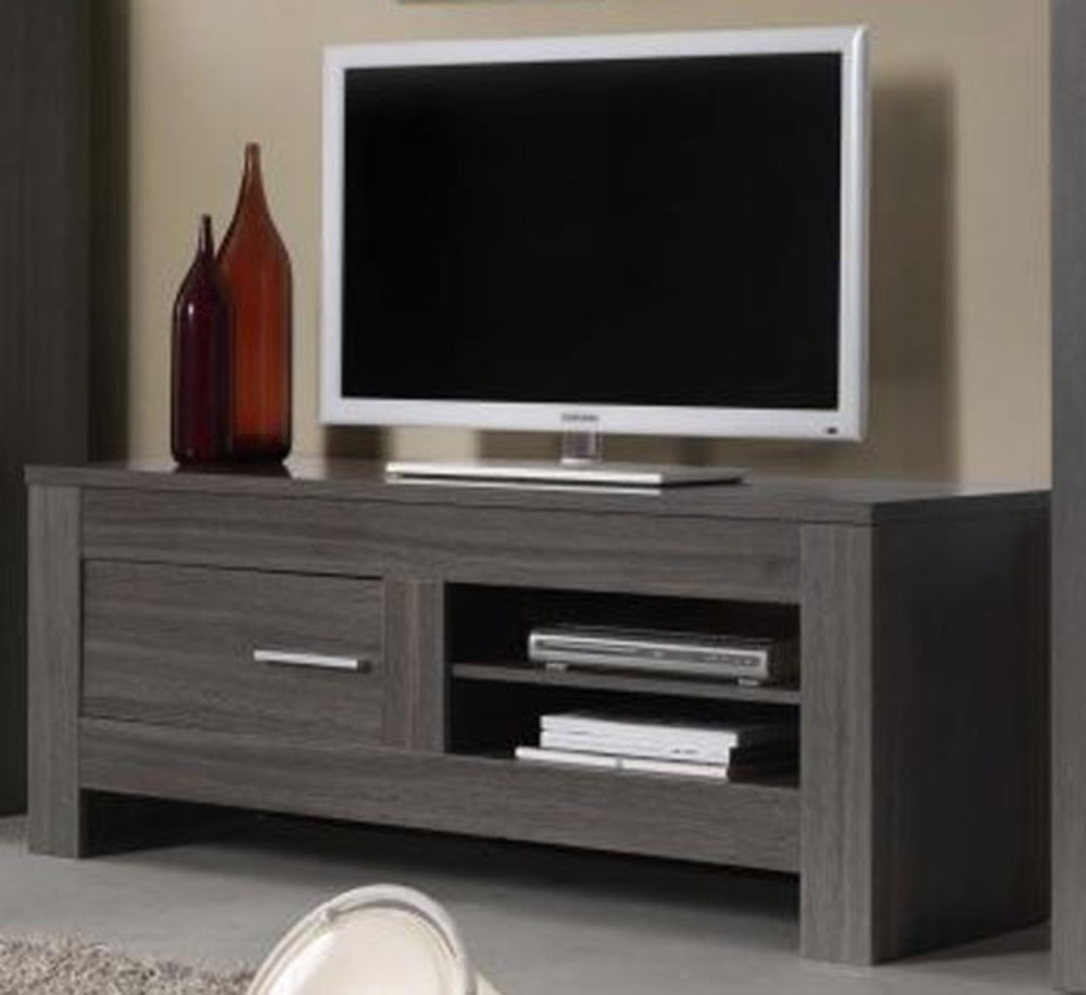 Meuble tv portofino chene gris for Meuble tv tres fin