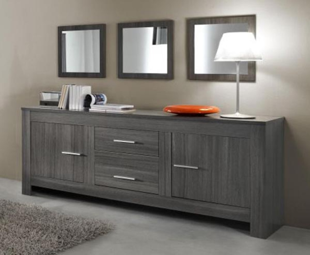 bahut 2 portes 2 tiroirs portofino chene gris. Black Bedroom Furniture Sets. Home Design Ideas