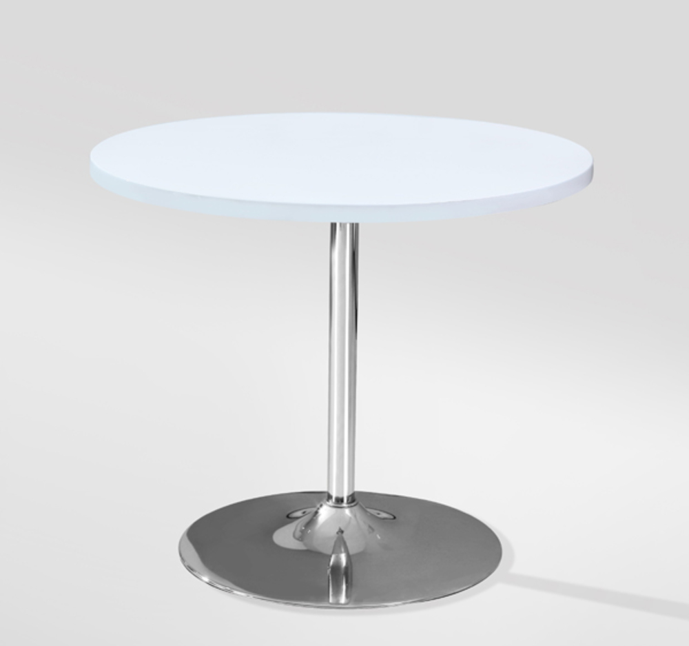 Table de repas leo blanc for Table ronde plateau verre pied central