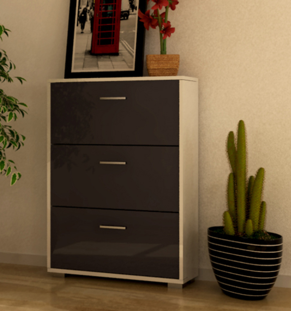 meuble a chaussure cosmo blanc gris brillant. Black Bedroom Furniture Sets. Home Design Ideas