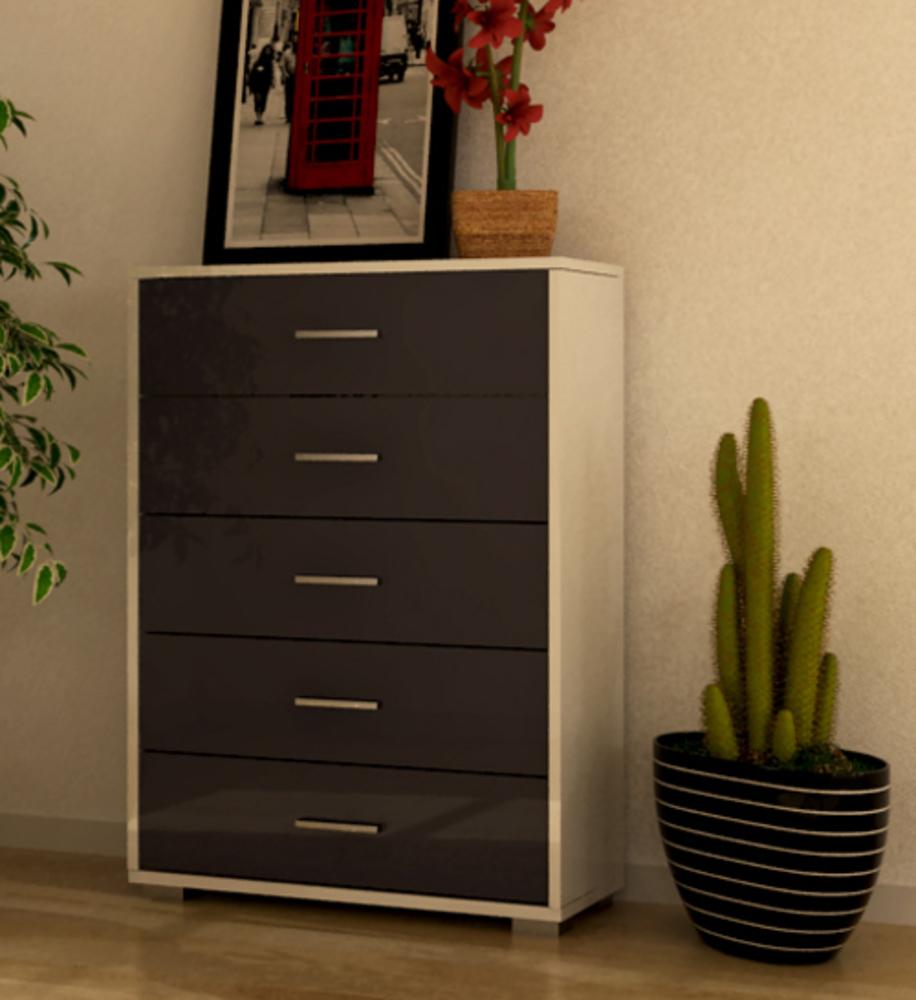 commode 5 tiroirs cosmo blanc gris brillant. Black Bedroom Furniture Sets. Home Design Ideas