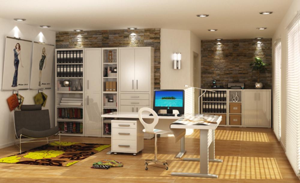 bureau manager stampa blanc brillantl 150 x h 70 x p 80. Black Bedroom Furniture Sets. Home Design Ideas