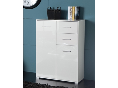 meuble 2 portes 2 tiroirs cosmo blanc brillant. Black Bedroom Furniture Sets. Home Design Ideas