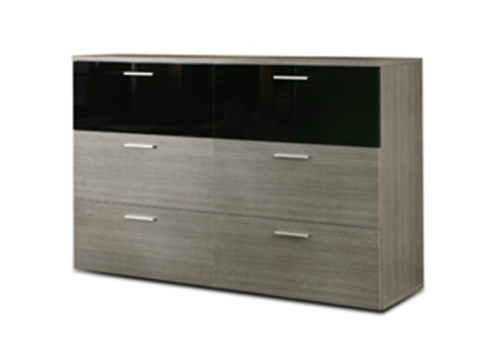 Commode 6 tiroirs cellini gris - Commode grise tiroirs ...