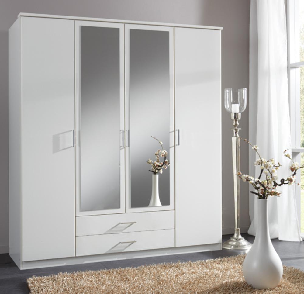 armoire 4 portes dont 2 miroirs 2 tiroirs oskar blanc. Black Bedroom Furniture Sets. Home Design Ideas