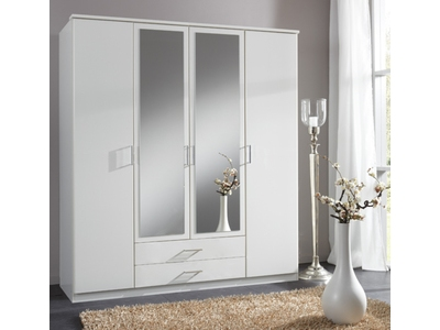 Armoire 4 portes dont 2 miroirs+2 tiroirs Oskar