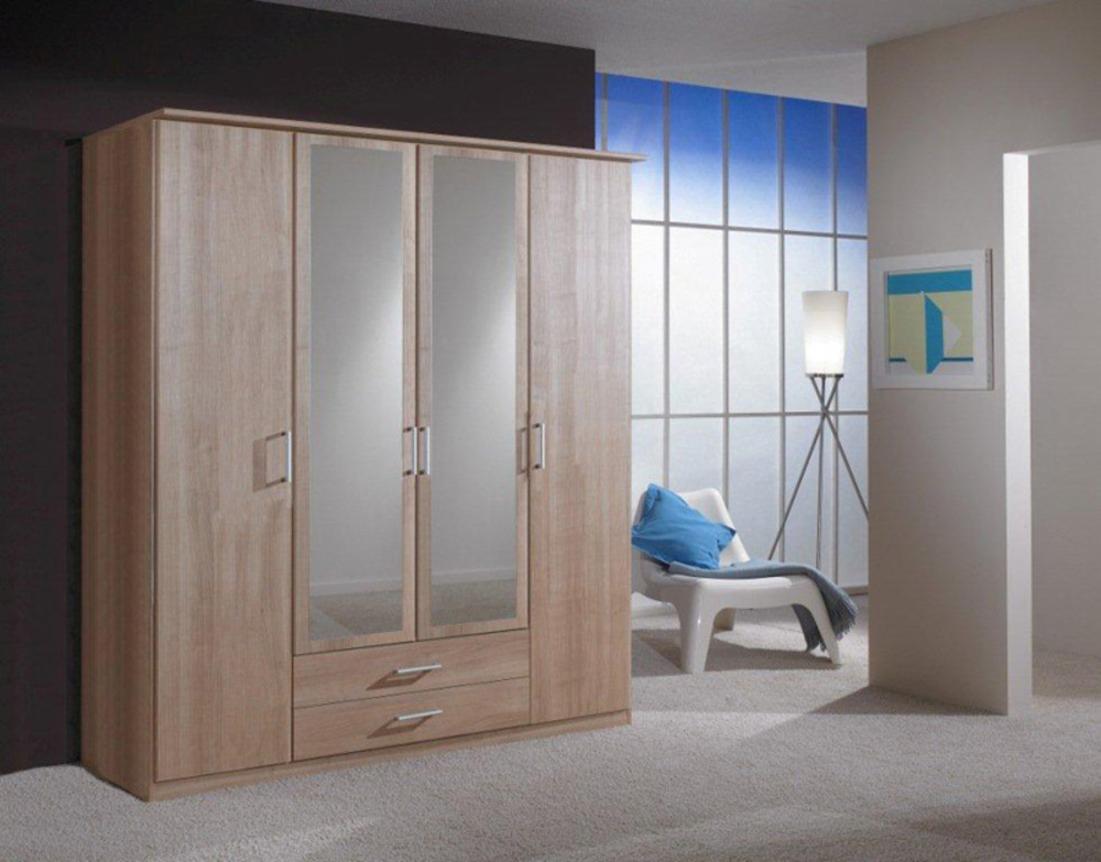 armoire 4 portes dont 2 miroirs 2 tiroirs oskar chene. Black Bedroom Furniture Sets. Home Design Ideas