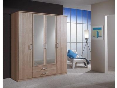 Armoire 4 portes dont 2 miroirs+2 tiroirs