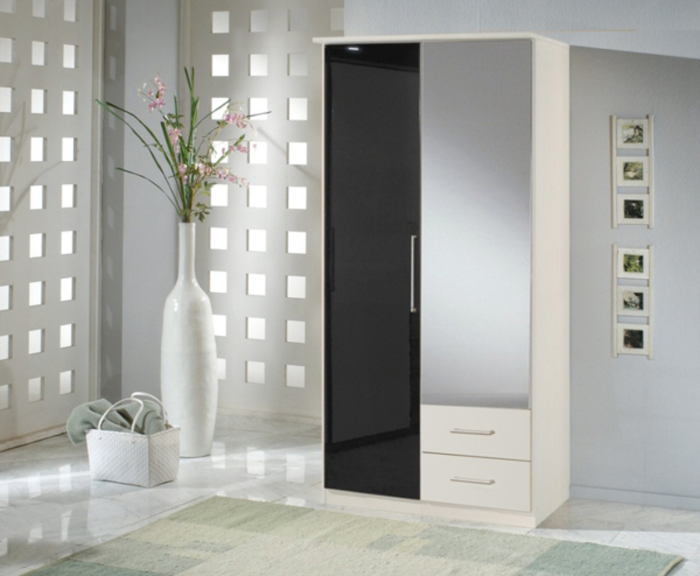 armoire 2 portes dont 1 miroir 2 tiroirs greven blanc noir. Black Bedroom Furniture Sets. Home Design Ideas