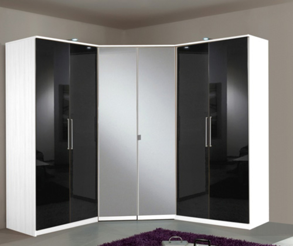 armoire 4 portes dont 2 miroirs 2 tiroirs gamma blanc noir. Black Bedroom Furniture Sets. Home Design Ideas